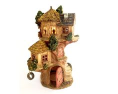Outdoor fairy house, large fairy house, tri-level miniature cottage, enchanted forest, whimsical garden, outdoor decor, enchanted garden,