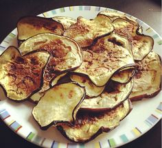 Eggplant Chips: Slice thin, brush with olive oil, sprinkle with sea salt, bake @ 400 degrees 10 min, then flip; bake 10 more min or until crisp.