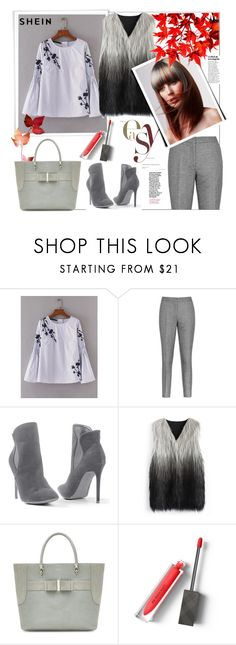 """""""Shein.Embroidery Flower Shirred Detail Striped Blouse"""" by natalyapril1976 ❤ liked on Polyvore featuring Reiss, Venus, Chicwish and Burberry"""