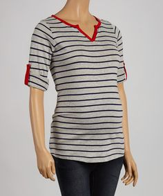 Take a look at this Gray & Red Stripe Maternity Notch Neck Top - Women on zulily today!