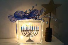 Hanukkah Menorah Glass Block Light for the by VinylSigns4him, $25.00