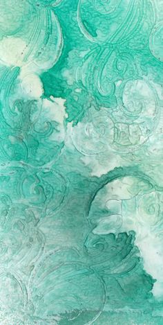 stamped gesso and glimmer mist background by turkusowo. - Turquoise, Aqua & sea glass blue Z Mixed Media Techniques, Art Journal Techniques, Painting Techniques, Gesso Art, Verde Aqua, Verde Vintage, Art Journal Backgrounds, Art Graphique, Artist Trading Cards
