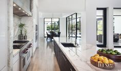 Modern Kitchen Interior Remodeling Modern White Kitchen With Limestone Flooring - Living Room Kitchen, Home Decor Kitchen, Kitchen Ideas, Kitchen Layout, Living Rooms, Modern Kitchen Design, Interior Design Kitchen, Kitchen Designs, Luxury Kitchens