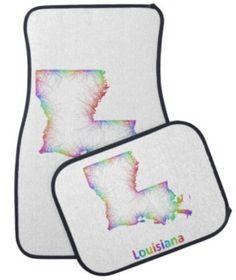 Rainbow Louisiana map Car Mat $87.25 *** louisiana - map - louisiana map - usa - louisiana state - rainbow - state - art - new orleans - baton rouge - la map - multicolored - outline - colors - design - map art - colorful - color map - curves - state map - boundary - louisiana state map - car floor mat