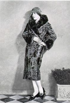 1927 Flapper Girl In Fur Coat Vintage Rotogtravure Print