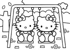 find this pin and more on free printables hello kitty swing coloring page - Girl Colouring Pages Printable Free