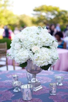 Simple, spring wedding centerpieces - white hydrangea centerpiece {Arden Photography}