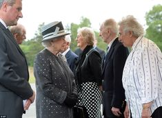 Stories: The Queen and Prince Philip speak to survivors and soldiers (L-R) Doreen Levy, Ca...
