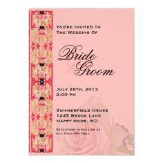Pink & Gold Wedding Invite - 3 #MatchingWeddingInvitationSet #Wedding #Invitation #celtic #rose #matchingset #gold