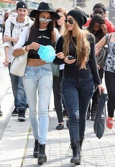 Top of the crops: Ella-Paige, who was linked to Justin when she was spotted on a series of nights out with him back in February 2013, showcased her toned tum in a monochrome long-sleeve crop top, which she paired with skintight ripped jeans