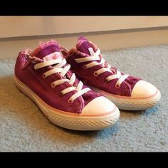 Girls Plum Converse All Stars