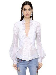 ermanno scervino - donna - camicie - camicia in pizzo di cotone con ricami
