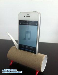 Enceinte iPhone en papier toilette