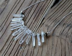Rough rock crystal, pyrite and sterling silver statement necklace by Rosehip Jewelry