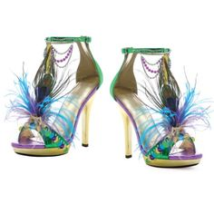Amazon.com: 5 Inch Sexy High Heel Shoes Peacock Feather Shoes Mardi Gras Costume Shoes Size: 6: Shoes