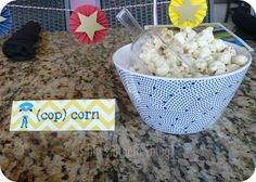 """We love this """"Cop Corn"""" great idea for your party!"""