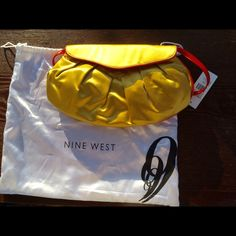 NWT Nine West purse/clutch Satin Shoulder purse turns clutch - brand new with tags, yellow with orange trim. So cute for spring. Strap is patent leather and is removable. Silver hardware Nine West Bags Shoulder Bags
