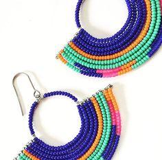Handmade Beaded Geometric Hoop Earrings – Tribal Jewelry – Statement Earrings – Seed Bead Jewelry – Abstract – Ikat Patterns Handmade Beaded Geometric Hoop Earrings by LocalColorCreations Seed Bead Jewelry, Bead Jewellery, Seed Bead Earrings, Tribal Jewelry, Beaded Earrings, Earrings Handmade, Seed Beads, Beaded Jewelry, Western Jewelry