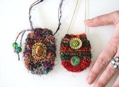 Crochet Pouch Necklace Handmade Silk Amulet Festival Bag locket stash pagan hippie jewelry Reiki Handmade Necklace crystal healing stone