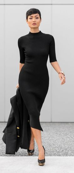 0dc6fb7818955 The power statement dress.but ad lose the shoes Casual Black Dress Outfit