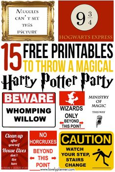 15 Free Harry Potter party printables - part 1 - Lovely Planner - 15 FREE Harry Potter printables to throw a magical Harry Potter Party for halloween, birthday, etc! Baby Harry Potter, Harry Potter Motto Party, Harry Potter Fiesta, Harry Potter Thema, Classe Harry Potter, Harry Potter Halloween Party, Mundo Harry Potter, Harry Potter Classroom, Theme Harry Potter
