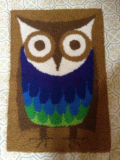 1970s Vintage Owl Rug / Vintage Rug / Wall Hanging by highvintage, $52.00