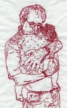 Man Holding Baby- Redwork