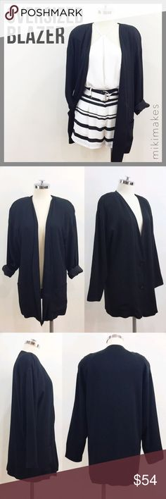 Vintage oversized crepe blazer double button Oversized blazer with dropped shoulder from BH Collectibles.  No collar and dog Le button closure.  Buttons are beautiful onyx diamond like cut.  Two patch pocket at the front.  Has shoulder pads at the top to give you shape even with the dripped shoulders.  Fully lined.  Roll up the sleeves and pair with a crop top and cut off jeans!  Super cute throw back look! Vintage Jackets & Coats Blazers