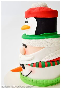 Papá, pingüino, muñeco de nieve Pastel - For all your cake decorating supplies, please visit craftcompany.co.uk