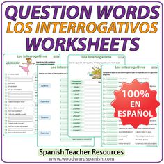 Spanish Question Words Worksheets - Ejercicios con los interrogativos en español. Spanish Teacher Resources #LearnSpanish