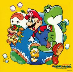 """poisonmushroom-org: I'm not sure what this is from, exactly, but it's a cool and rather rare piece of Super Mario World art just the same. Also: Note the """"Super Mario Bros. 4"""" title above the World logo."""