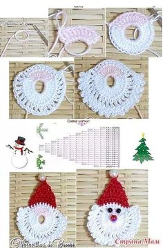 Trendy Ideas For Crochet Christmas Santa Papa Noel Crochet Christmas Decorations, Crochet Ornaments, Christmas Crochet Patterns, Holiday Crochet, Crochet Snowflakes, Christmas Knitting, Santa Ornaments, Thread Crochet, Crochet Motif