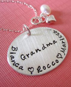 Proud Grandma Hand Stamped Sterling Silver Necklace
