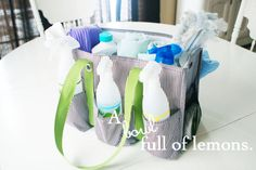 Organizing with utility totes - cleaning supplies in an organizing utility tote from Thirty One.  GENIUS!!!!