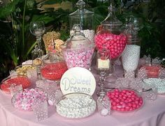 A sweet wedding candy buffet will really treat your guests in your wedding reception. Wedding candy buffet comes in several colors like green, red and pink. Pink Candy Buffet, Lolly Buffet, Candy Buffet Tables, Candy Table, Buffet Ideas, Bar Ideas, Theme Ideas, Ideas Party, Candy Bar Wedding