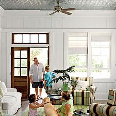 Plank wall, pressed tin ceiling