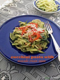 Zucchini Pasta with Avocado Cream Sauce - low carb