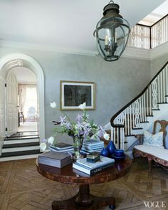 The foyer of Emilia Fanjul Pfeifler's Locust Valley, Long Island, NY home features antique French oak floors and a Scottish lantern. South Shore Decorating, Foyer Decorating, Decorating Blogs, Long Island, Locust Valley, Decoration Entree, Colonial Style Homes, French Oak, Entry Foyer