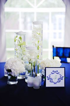 floating candles with flowers surounded by hydrangeas