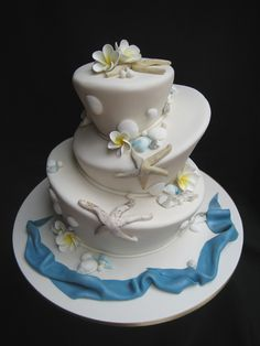 Beach themed wedding cake - fun and quirky.. We of course wldn't need a cake rely, but it's cool!