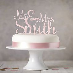 Personalised 'Mr And Mrs' Wedding Cake Topper   Bursting with joie de vivre and romance, chalky pastels are a breath of fresh air. This trend is all about creating a light-hearted look for your wedding.