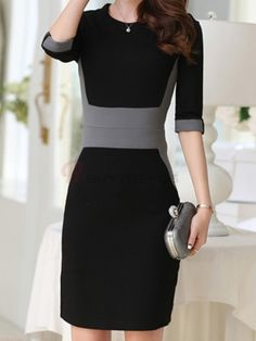 Graceful O-Neck Three Quarter Sleeve Contrasting Color Patchwork Slim Women Mini Casual Dress on buytrends.com