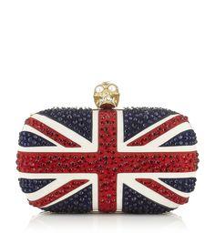 LOVE this ALEXANDER MCQUEEN Crystal Britannia Skull Box Clutch