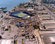 "An aerial view of the midway and the former Exhibition Stadium at ""The Ex"" -- the Canadian National Exhibition Fairgrounds in Toronto, circa Baseball Park, Baseball Pitching, Basketball, Toronto Ontario Canada, Toronto City, Yankee Stadium, Stadium Tour, Sky View, Toronto Blue Jays"