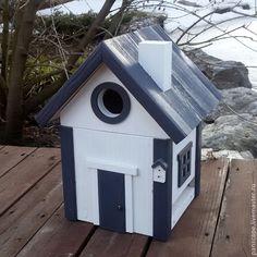 Купить Кормушка для птиц и скворечник (бело-стальной) - темно-серый, скворечник, кормушка, скворечник-кормушка