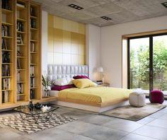 chambre design féminine avec décoration sur le thème du printemps par Image Box Studios