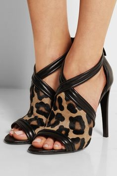 Altuzarra Tally leather-trimmed leopard-print calf hair sandals