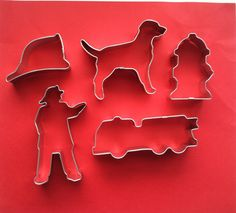 Firetruck Cookie Cutter Set - Fire Truck Cookie Cutter - Fireman Cookie Cutter set - Firefighter Cookie Cutter Set