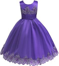 Big Girls Embroidered Applique Wedding Birthday Pageant Dress Purple 7-8. Tea Length.Made of high quality material ,touch soft and comfortable. Unique Lace Applique on the Bodice and the Bottom,which is Beautiful and Elegant. Available for 2-10 years old girl. Can be Used for Wedding Party,Flower Girl,Graduation Ceremony Pageant Occasion. Tie Back at the Waist with the Straps,which can shapewear the body and make the dress fit well.
