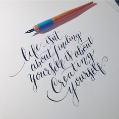 Lettering Daily — Create yourself. #calligraphy #moderncalligraphy...